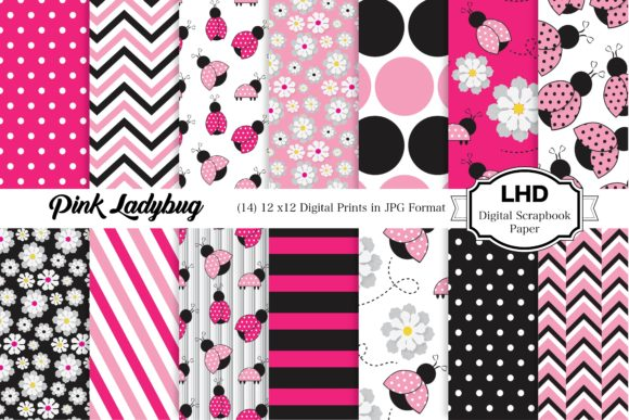 Pink Ladybug Digital Paper Patterns Gráfico Moldes Por LeskaHamatyDesign