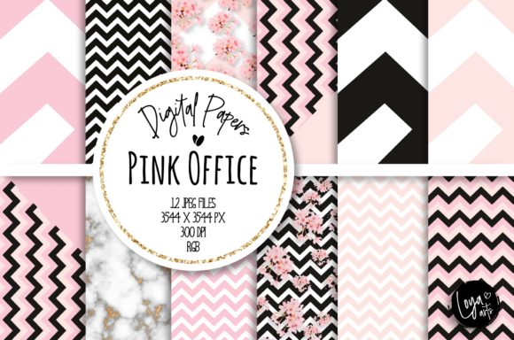Print on Demand: Pink Office Digital Paper Set Grafik Hintegründe von loyaarts