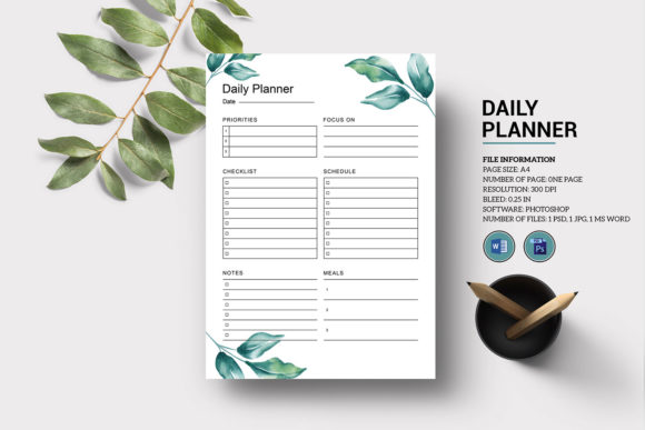 Printable Daily Planner Template Graphic Print Templates By sistecbd