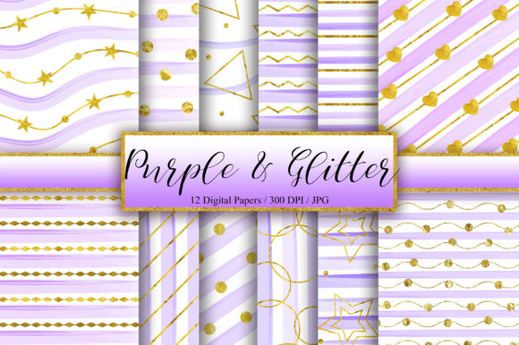 Download Free Purple Gold Glitter Background Graphic By Pinkpearly Creative for Cricut Explore, Silhouette and other cutting machines.