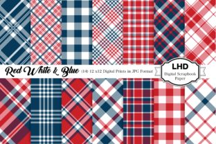 Red White & Blue Plaid Patterns Graphic Patterns By LeskaHamatyDesign