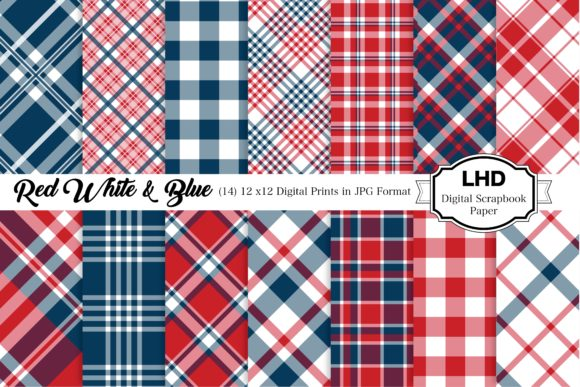 Red White & Blue Plaid Patterns Gráfico Moldes Por LeskaHamatyDesign