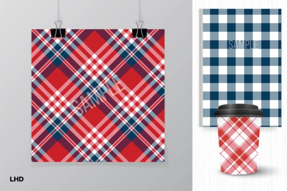 Red White & Blue Plaid Patterns Graphic Patterns By LeskaHamatyDesign - Image 2