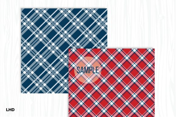 Red White & Blue Plaid Patterns Graphic Patterns By LeskaHamatyDesign - Image 3