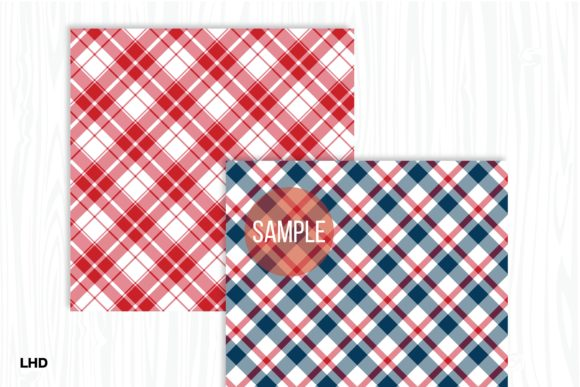 Red White & Blue Plaid Patterns Graphic Patterns By LeskaHamatyDesign - Image 4