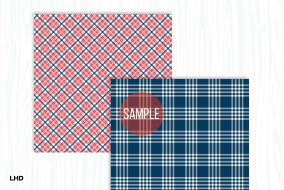 Red White & Blue Plaid Patterns Graphic Patterns By LeskaHamatyDesign - Image 5