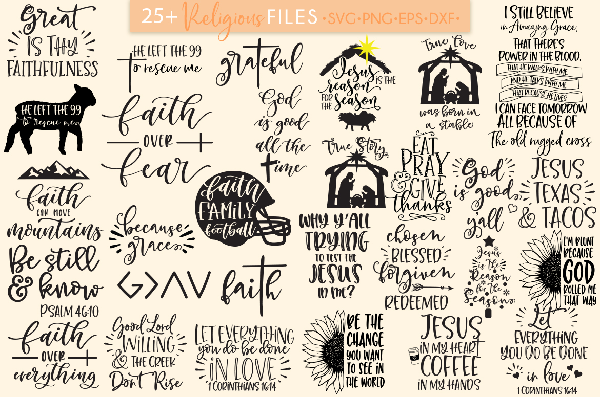 Download Free Religious Christian Bundle Graphic By Freelingdesignhouse Creative Fabrica for Cricut Explore, Silhouette and other cutting machines.