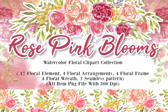 Print on Demand: Rose Pink Blooms Watercolor Set Graphic Illustrations By OrchidArt