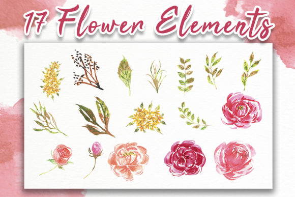 Download Free Rose Pink Blooms Watercolor Set Graphic By Orchidart Creative for Cricut Explore, Silhouette and other cutting machines.