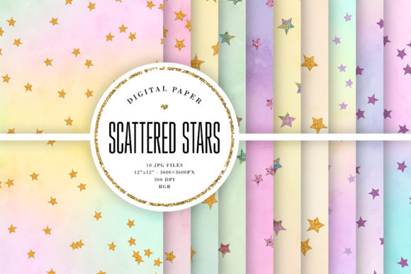 Print on Demand: Scattered Stars Pastel Backgrounds Graphic Backgrounds By Sabina Leja