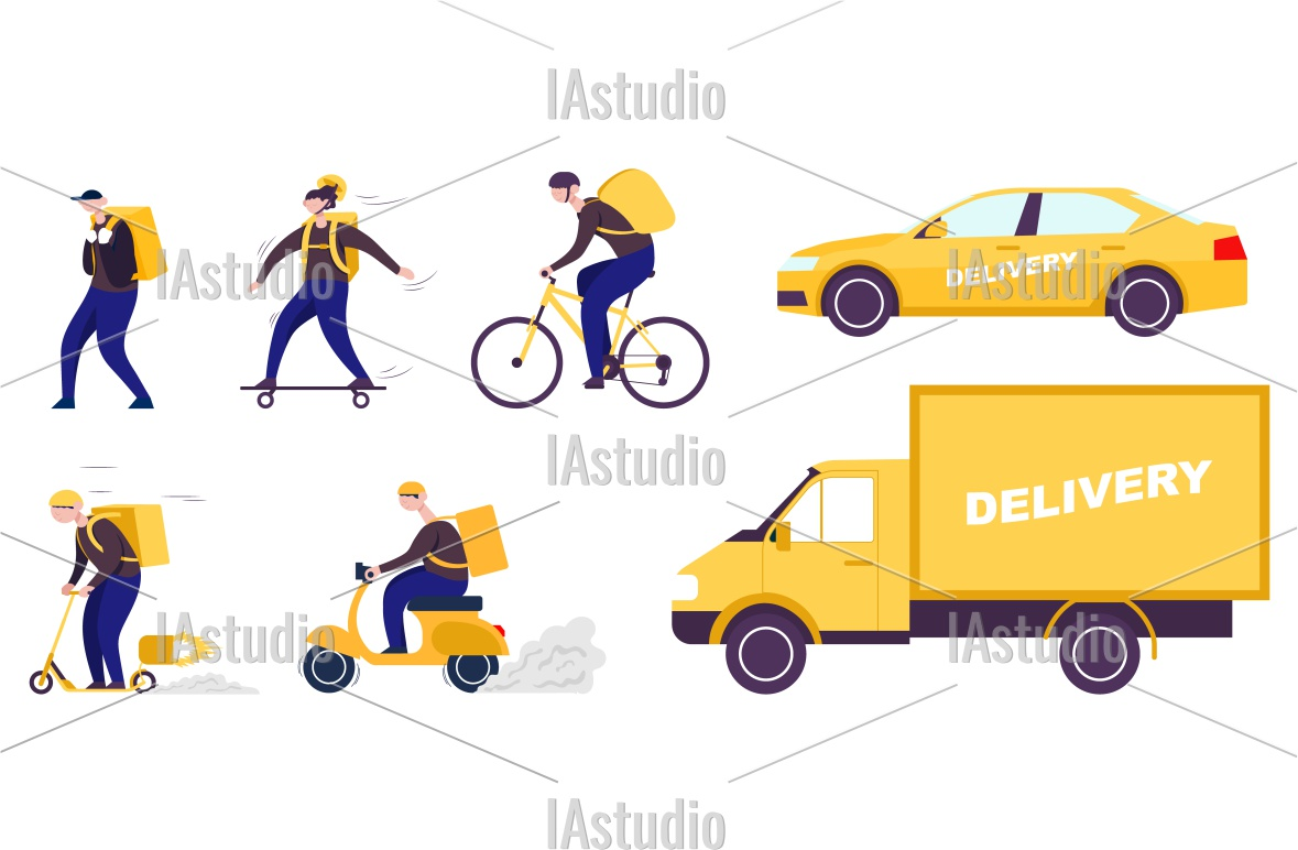 Download Free Set Delivery Shipping Transport Graphic By Stockandig Creative for Cricut Explore, Silhouette and other cutting machines.