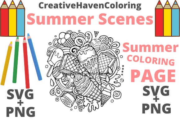 Print on Demand: Summer Coloring Page #1 Graphic Coloring Pages & Books Adults By creativehavencoloring