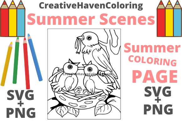 Print on Demand: Summer Coloring Page #10 Graphic Coloring Pages & Books Adults By creativehavencoloring