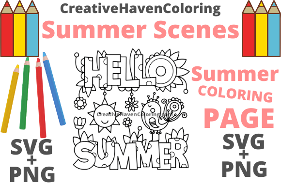 Print on Demand: Summer Coloring Page #13 Graphic Coloring Pages & Books Adults By creativehavencoloring