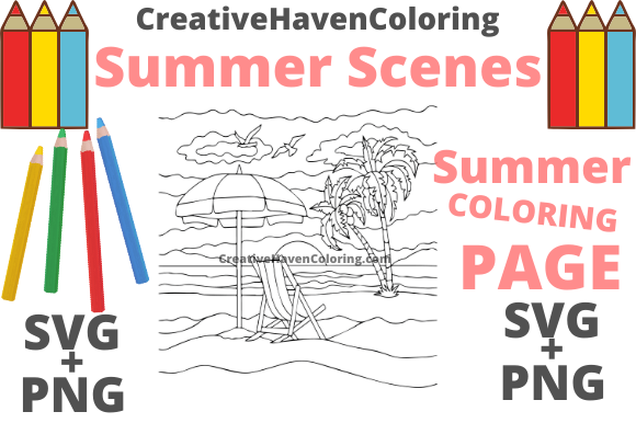 Download Free Summer Coloring Page 14 Graphic By Creativehavencoloring for Cricut Explore, Silhouette and other cutting machines.