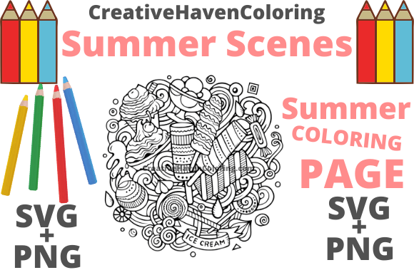 Print on Demand: Summer Coloring Page #17 Graphic Coloring Pages & Books Adults By creativehavencoloring - Image 1