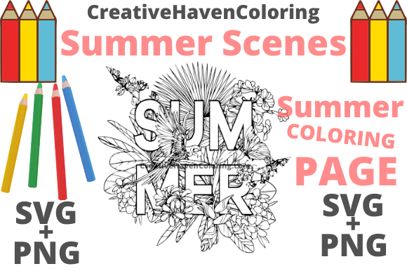 Print on Demand: Summer Coloring Page #2 Graphic Coloring Pages & Books Adults By creativehavencoloring
