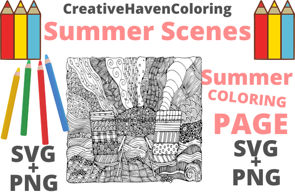 Print on Demand: Summer Coloring Page #5 Graphic Coloring Pages & Books Adults By creativehavencoloring