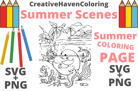 Print on Demand: Summer Coloring Page #6 Graphic Coloring Pages & Books Adults By creativehavencoloring - Image 1