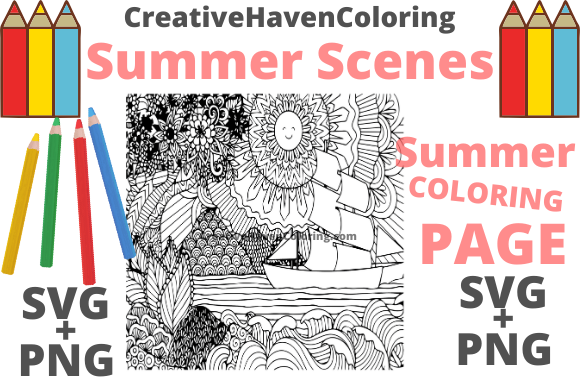 Print on Demand: Summer Coloring Page #7 Graphic Coloring Pages & Books Adults By creativehavencoloring - Image 1