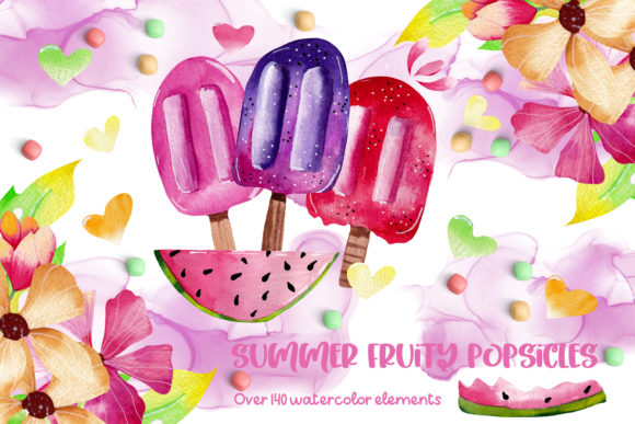 Print on Demand: Summer Fruity Popsicles Collections Graphic Illustrations By Andreea Eremia Design
