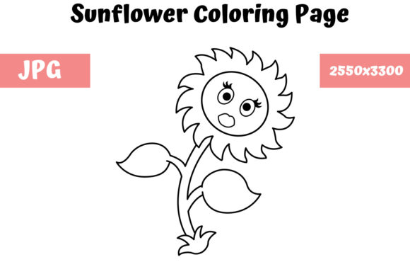 Download Free Sunflower Coloring Page For Kids Graphic By Mybeautifulfiles Creative Fabrica for Cricut Explore, Silhouette and other cutting machines.