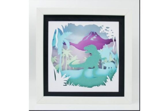 Download Free T Rex Dinosaur 3d Paper Cut Light Box Graphic By Kiyoni for Cricut Explore, Silhouette and other cutting machines.