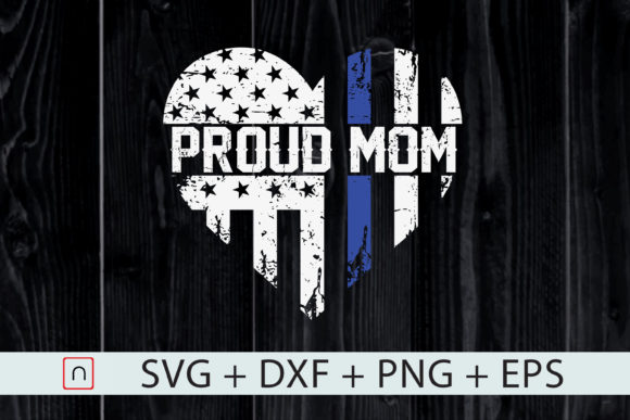 Print on Demand: Thin Blue Line Heart Proud Mom Police Graphic Print Templates By Novalia