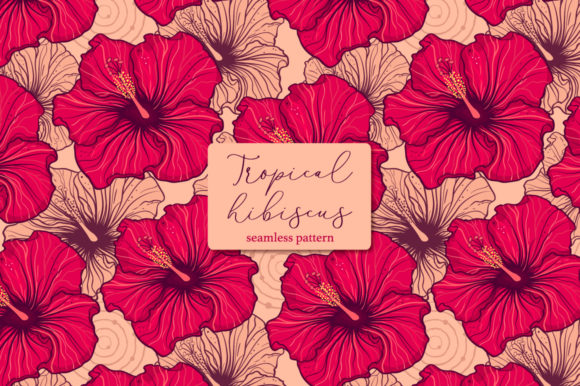 Download Free Tropical Hibiscus Seamless Pattern Graphic By Fatamorganaoptic for Cricut Explore, Silhouette and other cutting machines.