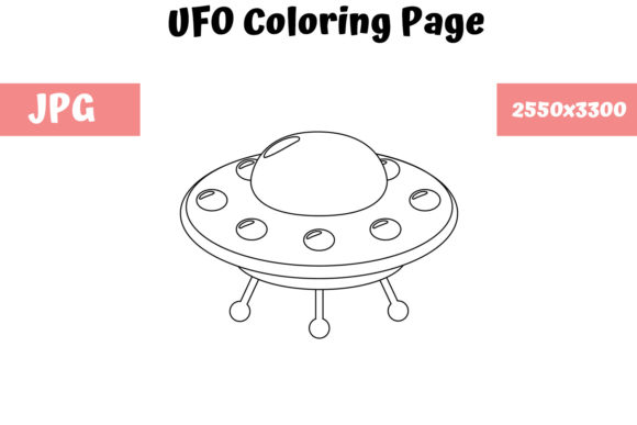 Print on Demand: UFO - Coloring Page for Kids Graphic Coloring Pages & Books Kids By MyBeautifulFiles