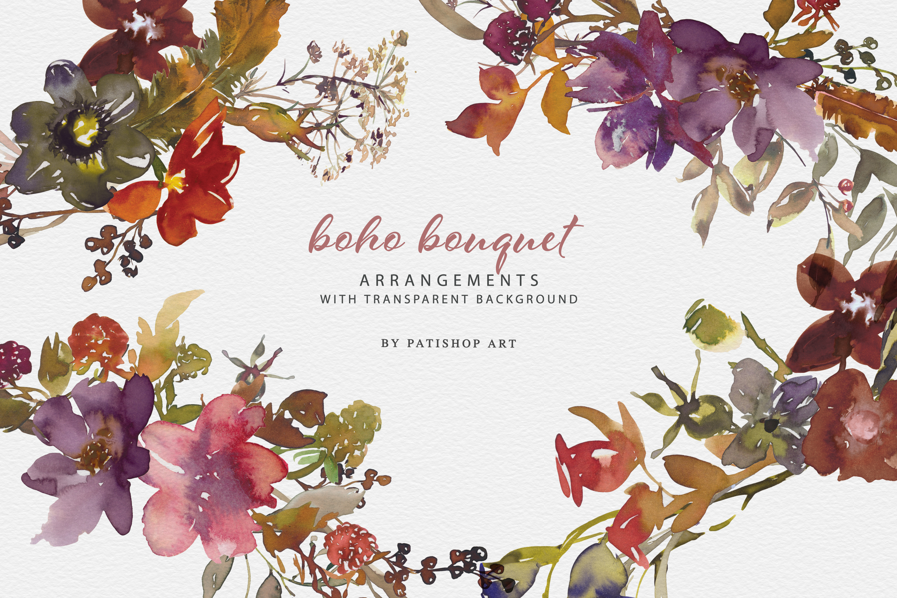 Download Free Watercolor Boho Floral Clipart Set Graphic By Patishop Art for Cricut Explore, Silhouette and other cutting machines.