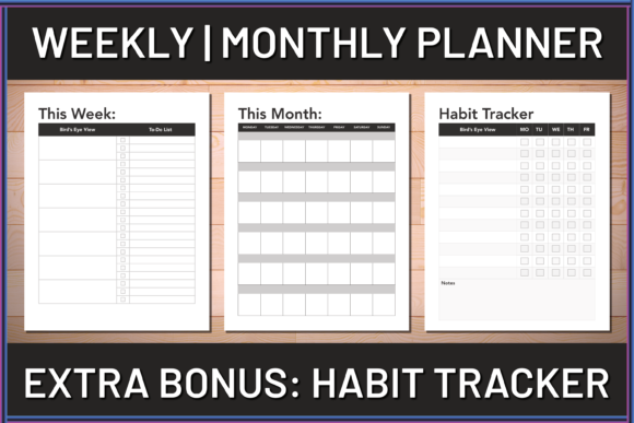 Print on Demand: Weekly & Monthly Schedule Planner Graphic Print Templates By AscendPrints