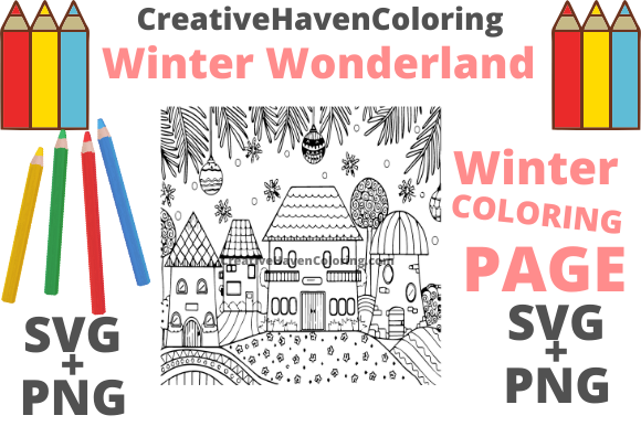 Download Free Winter Wonderland Coloring Page 1 Graphic By for Cricut Explore, Silhouette and other cutting machines.