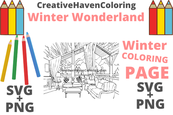 Print on Demand: Winter Wonderland Coloring Page #11 Graphic Coloring Pages & Books Adults By creativehavencoloring