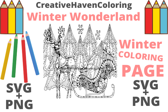 Print on Demand: Winter Wonderland Coloring Page #12 Graphic Coloring Pages & Books Adults By creativehavencoloring