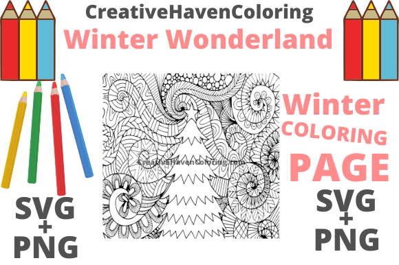 Print on Demand: Winter Wonderland Coloring Page #2 Graphic Coloring Pages & Books Adults By creativehavencoloring