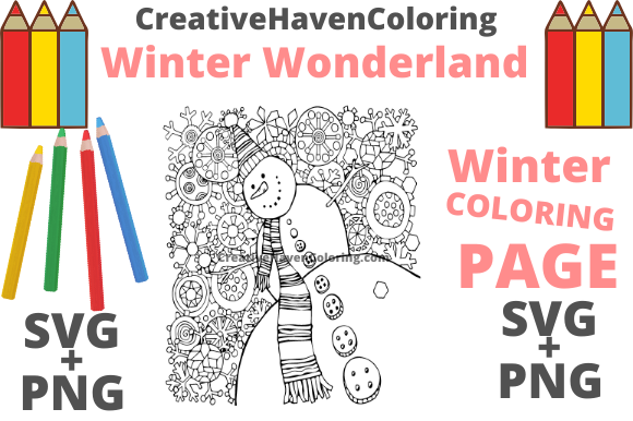 Print on Demand: Winter Wonderland Coloring Page #4 Graphic Coloring Pages & Books Adults By creativehavencoloring