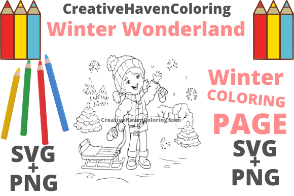 Download Free Winter Wonderland Coloring Page 5 Graphic By for Cricut Explore, Silhouette and other cutting machines.