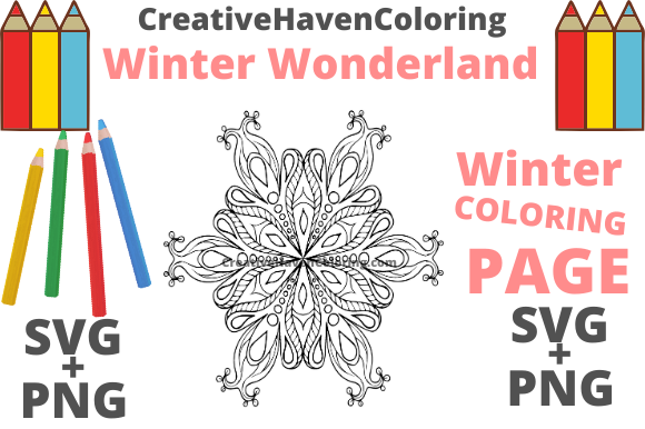 Print on Demand: Winter Wonderland Coloring Page #7 Graphic Coloring Pages & Books Adults By creativehavencoloring