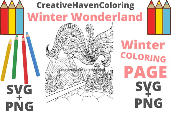 Download Free Winter Wonderland Coloring Page 9 Graphic By for Cricut Explore, Silhouette and other cutting machines.