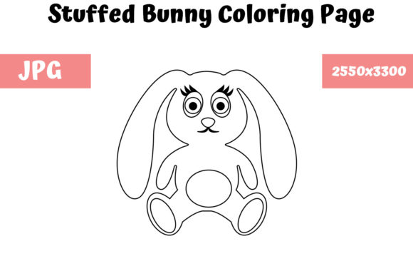 Download Free Bunny Stuffed Coloring Page For Kids Graphic By for Cricut Explore, Silhouette and other cutting machines.