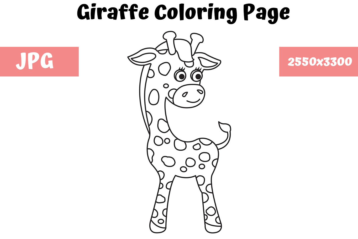 - Giraffe - Coloring Page For Kids (Graphic) By MyBeautifulFiles