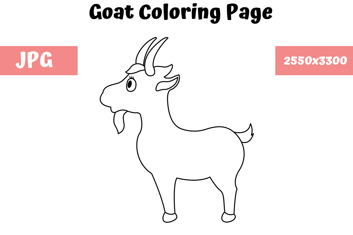 Download Free Goat Coloring Page For Kids Graphic By Mybeautifulfiles for Cricut Explore, Silhouette and other cutting machines.