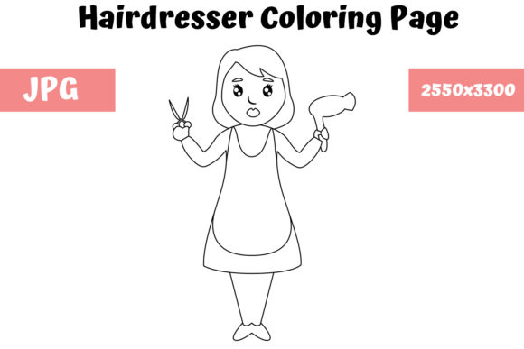 Print on Demand: Hairdresser - Coloring Page for Kids Graphic Coloring Pages & Books Kids By MyBeautifulFiles