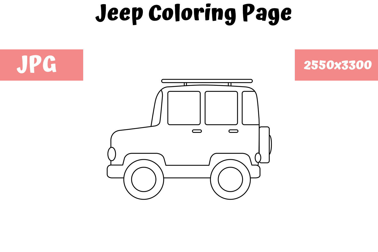 Download Free Jeep Coloring Page For Kids Graphic By Mybeautifulfiles for Cricut Explore, Silhouette and other cutting machines.