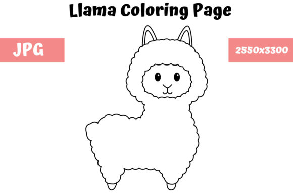 Download Free Llama Coloring Page For Kids Graphic By Mybeautifulfiles for Cricut Explore, Silhouette and other cutting machines.