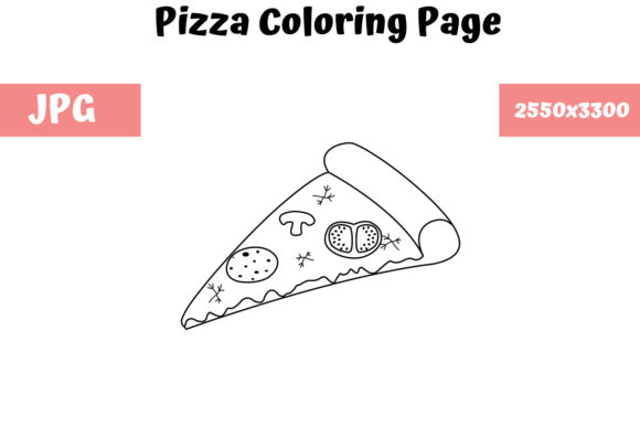 Print on Demand: Pizza - Coloring Page for Kids Graphic Coloring Pages & Books Kids By MyBeautifulFiles