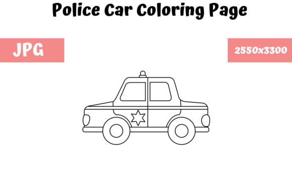 Print on Demand: Police Car - Coloring Page for Kids Graphic Coloring Pages & Books Kids By MyBeautifulFiles