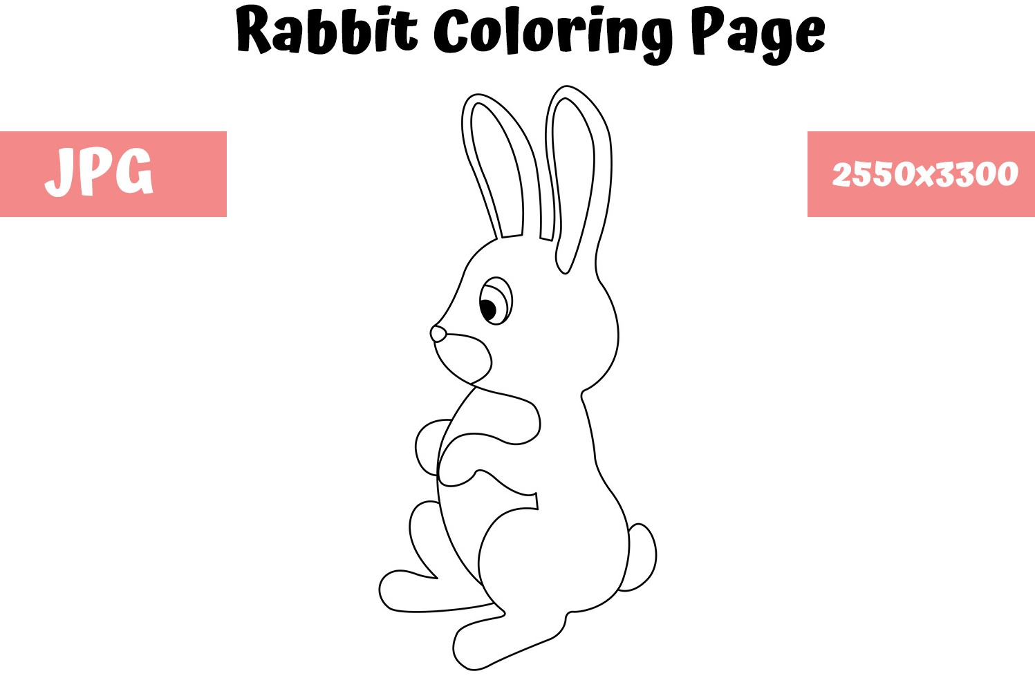 Download Free Rabbit Coloring Page For Kids Graphic By Mybeautifulfiles for Cricut Explore, Silhouette and other cutting machines.