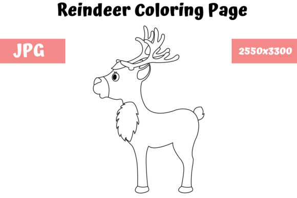 Download Free Reindeer Coloring Page For Kids Graphic By Mybeautifulfiles for Cricut Explore, Silhouette and other cutting machines.